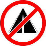 No bivouac, camping prohibited symbol. Vector.