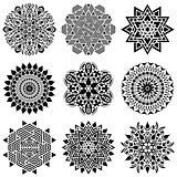 Black geometric abstract mandala collection