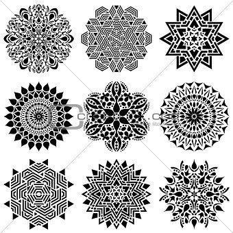 Black geometric abstract mandala collection