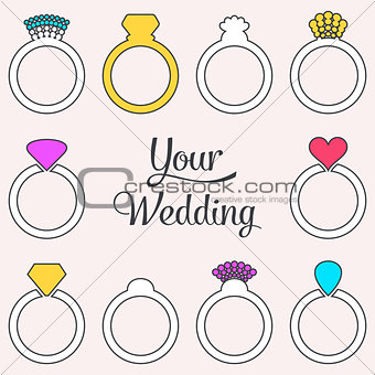 Card with engagement or wedding rings