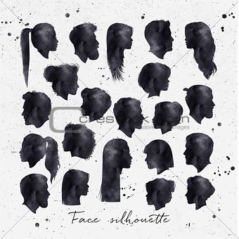 Face silhouettes ink