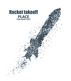 rocket icon. Startup concept, particle divergent composition, vector illustration