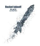 rocket icon. Startup concept, particle divergent composition, vector illustration