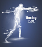 Abstract boxing from dot, flying lightning, vector