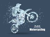 Particles of motorcycle riders,full enterprising across significance vector illustration.