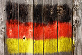 german colors on old wooden wound
