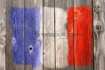france colors on old wooden wound