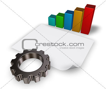 3d rendering of gear wheel, business graph and blank paper sheet