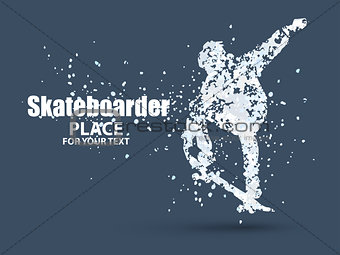 Skateboarder jump on skateboard, particle divergent composition, vector