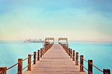 Tropical wooden pier in Red sea