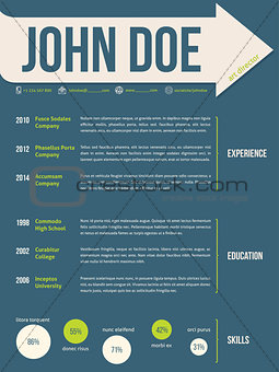 Modern resume cv template with arrow ribbon