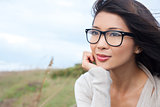Thoughtful Chinese Asian Woman Girl Wearing Glasses