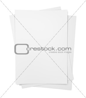 Three paper sheets on white