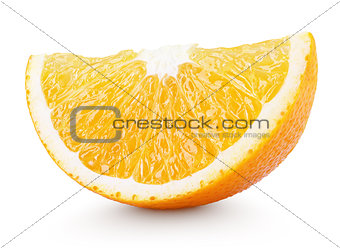 Slice of orange citrus fruit isolated on white