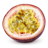 Half of passion fruit isolated on white