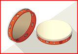 Tambourine isometric perspective view flat