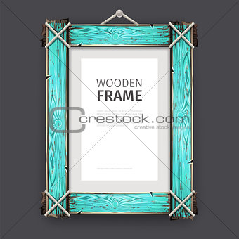 Old Wooden Frame with Cyan Paint