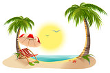 Beach chaise longue under palm tree. Beach umbrella. Summer vacation in tropics