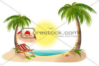 Beach chaise longue under palm tree. Beach umbrella. Summer vacation in tropics
