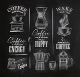 Coffee symbols chalk