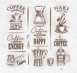 Coffee symbols brown