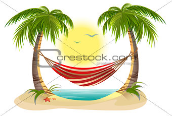 Beach vacation. Hammock between palm trees