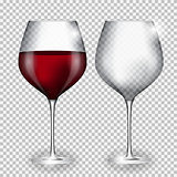 Full and Empty Glass of Wine on Transparent Background Vector