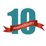 Ten 10 Years Anniversary Label Sign for your Date. Vector Illust