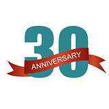 Thirty 30 Years Anniversary Label Sign for your Date. Vector Ill
