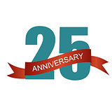 Twenty Five 25 Years Anniversary Label Sign for your Date. Vecto