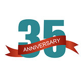 Thirty Five 35 Years Anniversary Label Sign for your Date. Vecto