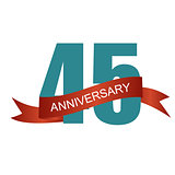 Forty Five Years Anniversary Label Sign for your Date. Vector Il