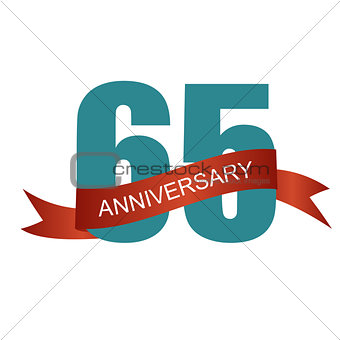Sixty Five 65 Years Anniversary Label Sign for your Date. Vector