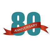 Eighty 80 Years Anniversary Label Sign for your Date. Vector Ill