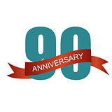 Ninety 90 Years Anniversary Label Sign for your Date. Vector Ill