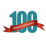 One Hundred 100 Years Anniversary Label Sign for your Date. Vect
