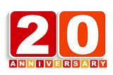 Twenty 20 Years Anniversary Label Sign for your Date. Vector Ill