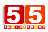 Fifty Five 55 Years Anniversary Label Sign for your Date. Vector