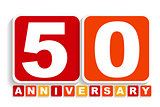 Fifty 50 Years Anniversary Label Sign for your Date. Vector Illu