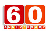Sixty 60 Years Anniversary Label Sign for your Date. Vector Illu