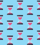 Hourglass, Sandglass Icon Seamless Pattern Background in Flat St