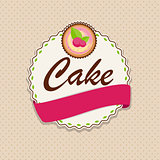 Sweet Cake with Berry Menu Background Vector Illustration
