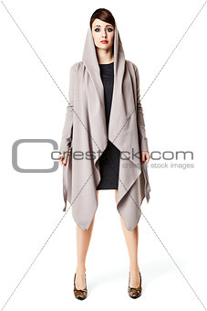 Attractive woman in gray coat