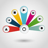 Imfographic with multimedia player buttons.