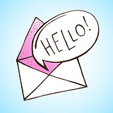 Opened letter with speech bubble. Hand drawn vector illustration. Concept of sms, spam, writing, postcard, salutation, chatting, mailbox, textual talking, checking email.