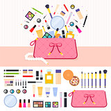 Make up bag full of cosmetics