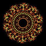 hohloma circular pattern on a black. vector illustration