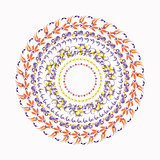hohloma circular pattern on a white. vector illustration