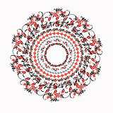 hohloma round red black pattern on a white. vector illustration