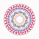 hohloma round red yellow pattern on a white. vector illustration
